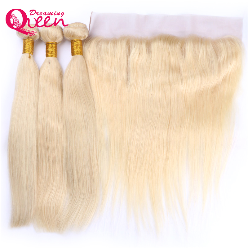 Brazilian Straight Human Hair 3 Bundles With 13x4 Lace Frontal Non Remy Hair #613 Blonde Extensions Dreaming Queen Hair