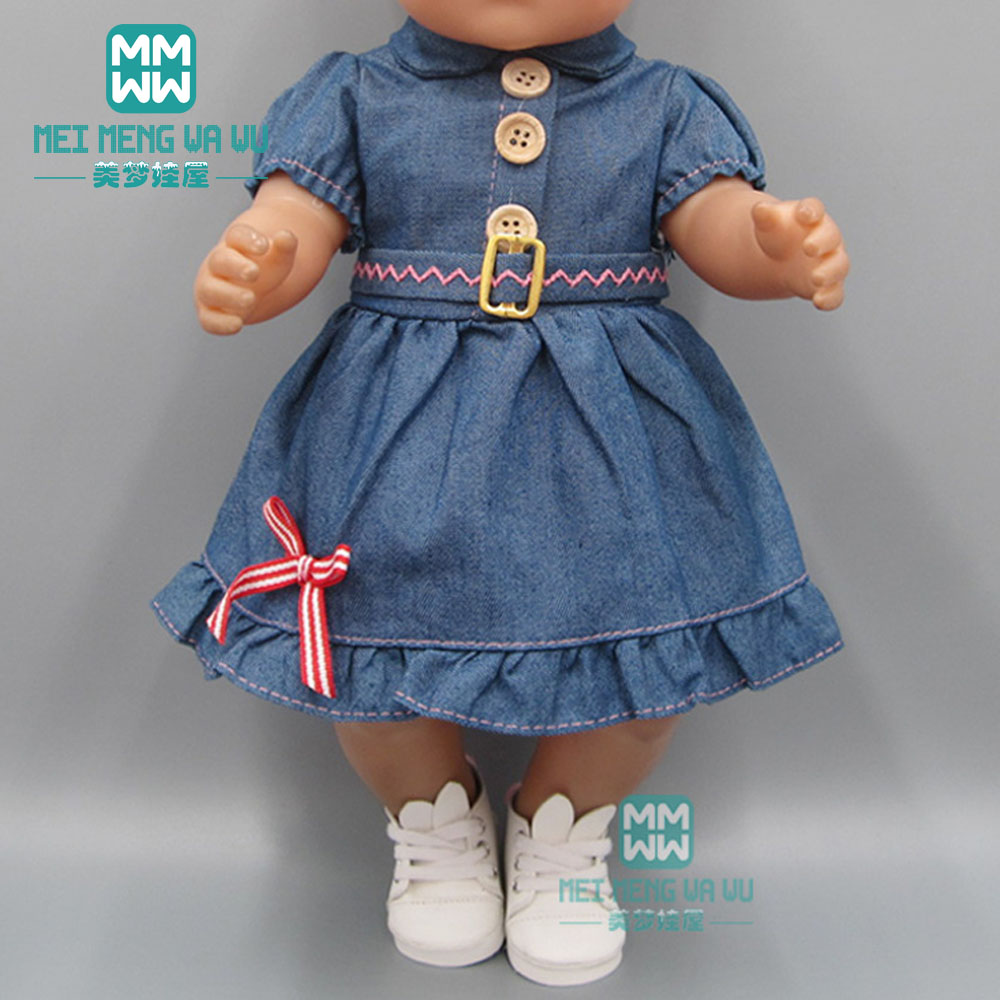 Doll Clothes For 43cm New Born Doll Accessories Casual Denim Baby Dress