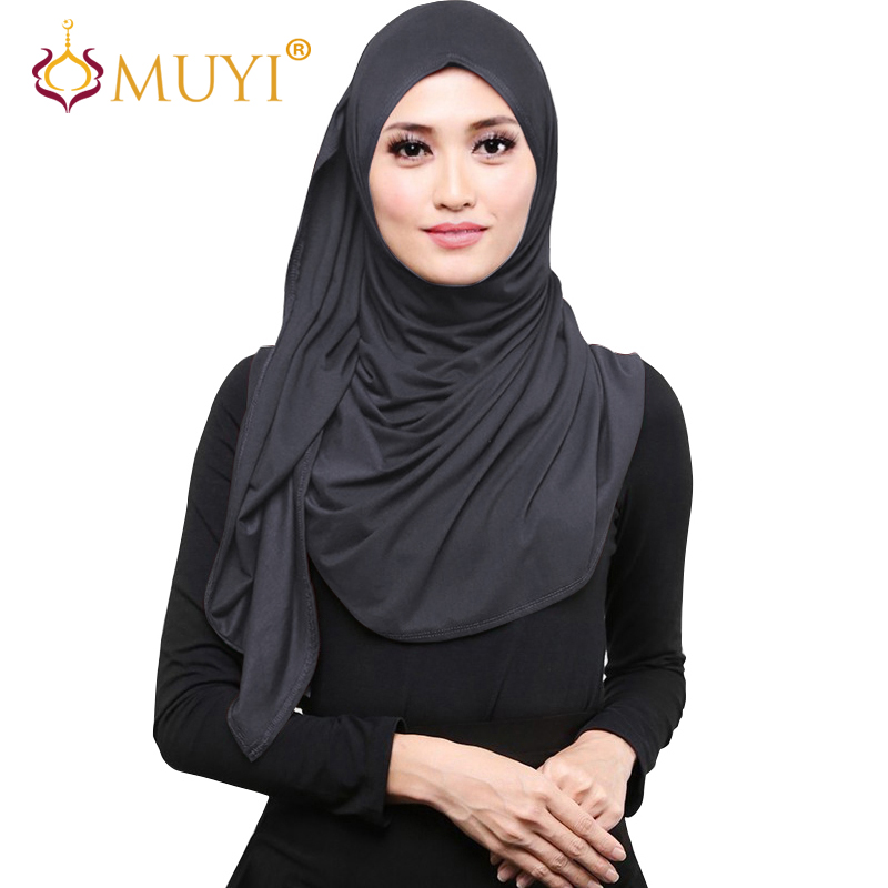 Muslim Hijab Wrap Women Scarves Hijabs Jersey Head Coverings Islamic Turban Veil Stretch Shawls Wraps Cotton Bandana Big Size ...