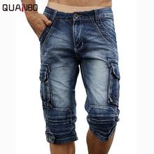2018 New Fashion Vintage Mens Jeans Calf Lenght Pants Multi-pocket Casual Denim Cargo Pants cheap Regular Solid Softener Medium Pockets QUANBO Calf-Length Pants Zipper Fly Midweight 29 30 31 32 33 34 36 38 40 Cotton