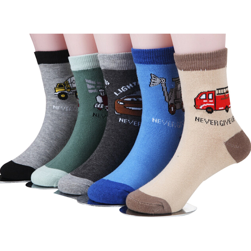 Car Baby Socks Boys Cartoon Spring Cotton 5-Pair/1-Lot for 1-12-Year Autumn title=