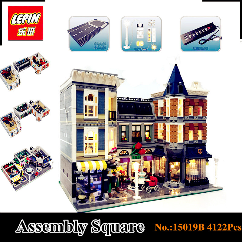 In-Stock With light 15019B 4122Pcs LEPIN 15019 4002Pcs Assembly Square City Serie Model Building Kits Brick Toy Compatible 10255 in stock with light 15019b 4122pcs lepin 15019 4002pcs assembly square city serie model building kits brick toy compatible 10255