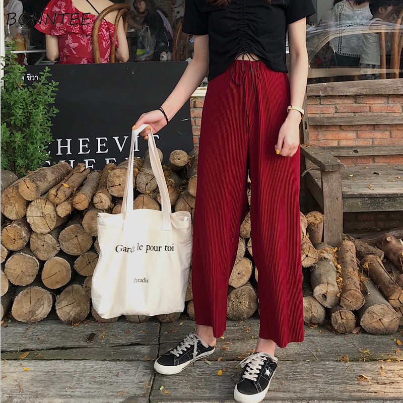 Pants   Women 2019 Summer Clothing High Leisure   Pant   Loose Chic Womens Pleated Ankle-Length Solid Wide Leg   Capris   Students Elastic