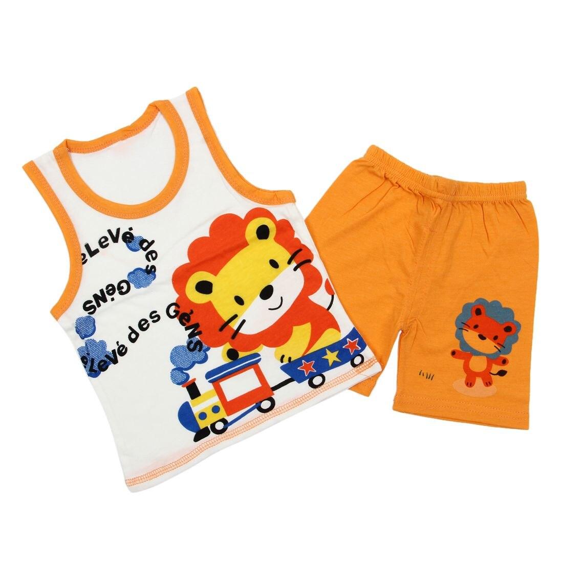 HOT SALE Baby Kids Clothes Set,Girls Boys T shirt+Pants Undershirt Shorts,Kids Pajama Set,Children T Shirts New-Lion Orange