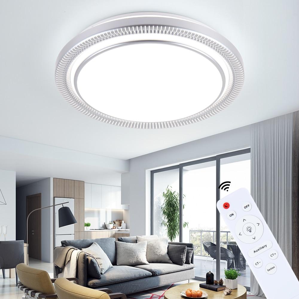 Moderne 220 v 80 w LED ronde plafonniers lampes luminaires avec télécommande pour intérieur maison maison salon cuisine chambre