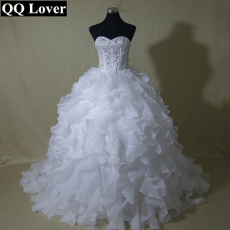 QQ Lover 2019 New Ruffles Ball Gown Wedding Dress Bridal Gown Luxury Beaded Custom-made