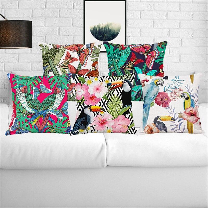 Tropická rostlina zelený list papoušek Flamingo Monstera svatební dárek polštář pokrývají velkoobchod domácí kancelář pohovka dekorativní polštář