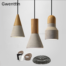 Vintage Wood Cement Pendant Lights Industrial Lamp Loft Decor Led Hanging Lamps Dining Room Bar Kitchen Light Fixtures Home Deco