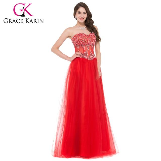 21076768b Hermoso vestido de fiesta novia Prom vestidos rojo rosa azul blanco  abalorios largo lentejuelas Bling Tulle