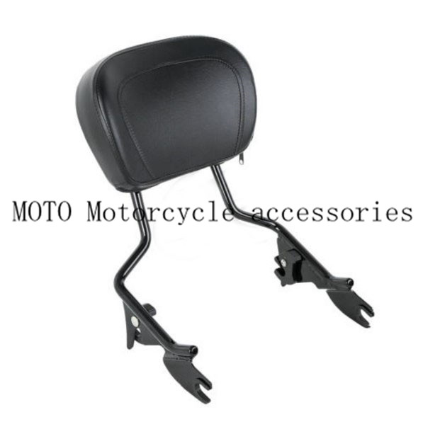 Motorcycle Black Sissy Bar Upright Passenger Backrest W Pad For Harley Touring Street Glide Road Glide