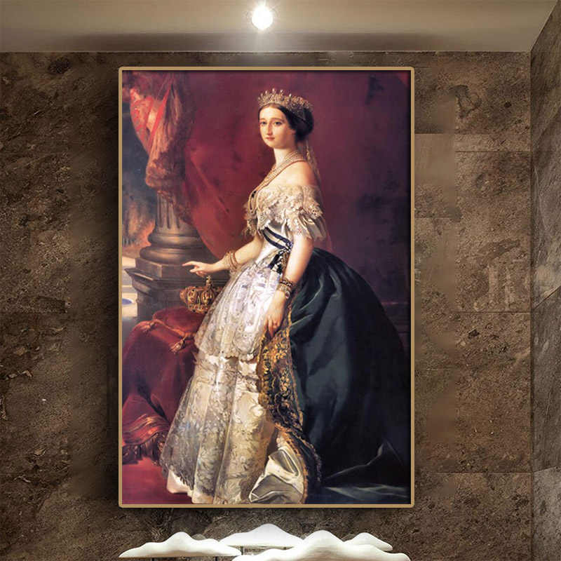 Eugenie de Montijo by Franz Xaver Winterhalter Portrait Oil Painting On Canvas Wall Art Poster and Print Picture for Living Room