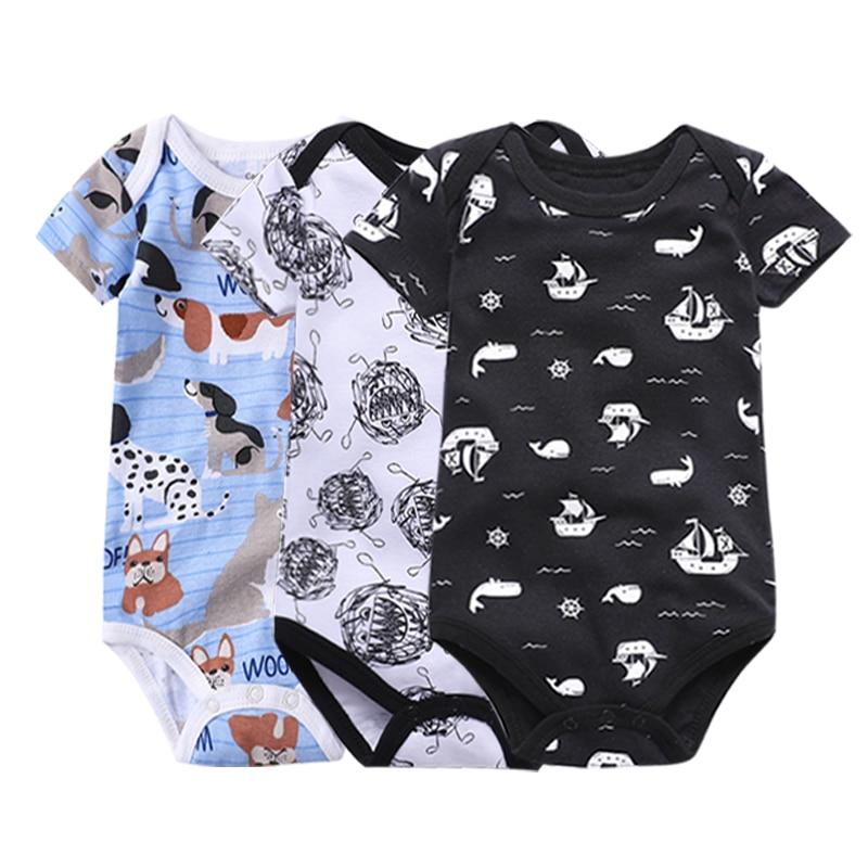 Newborn Bodysuit Baby Babies Bebes Clothes Short Sleeve Cotton Printing Infant Clothing 1pcs 0-24 Months