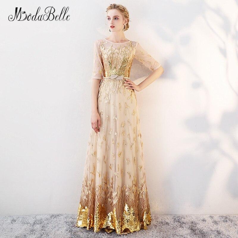 Modabelle or Sequin robe de bal avec manches modeste 2018 étage longueur robes de célébrité élégant robes robe de soirée formelle