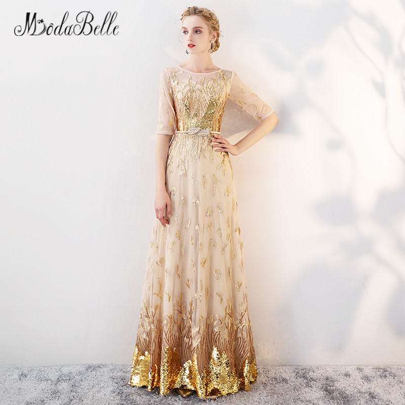 modabelle Gold Sequin Prom Dress With Sleeve Modest 2018 Floor ...
