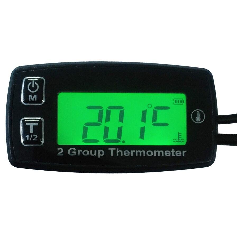 Livraison gratuite numérique 2 TEMP mètre thermomètre température mètre pour générateur voiture SUV ATV camion voiture température mètre huile