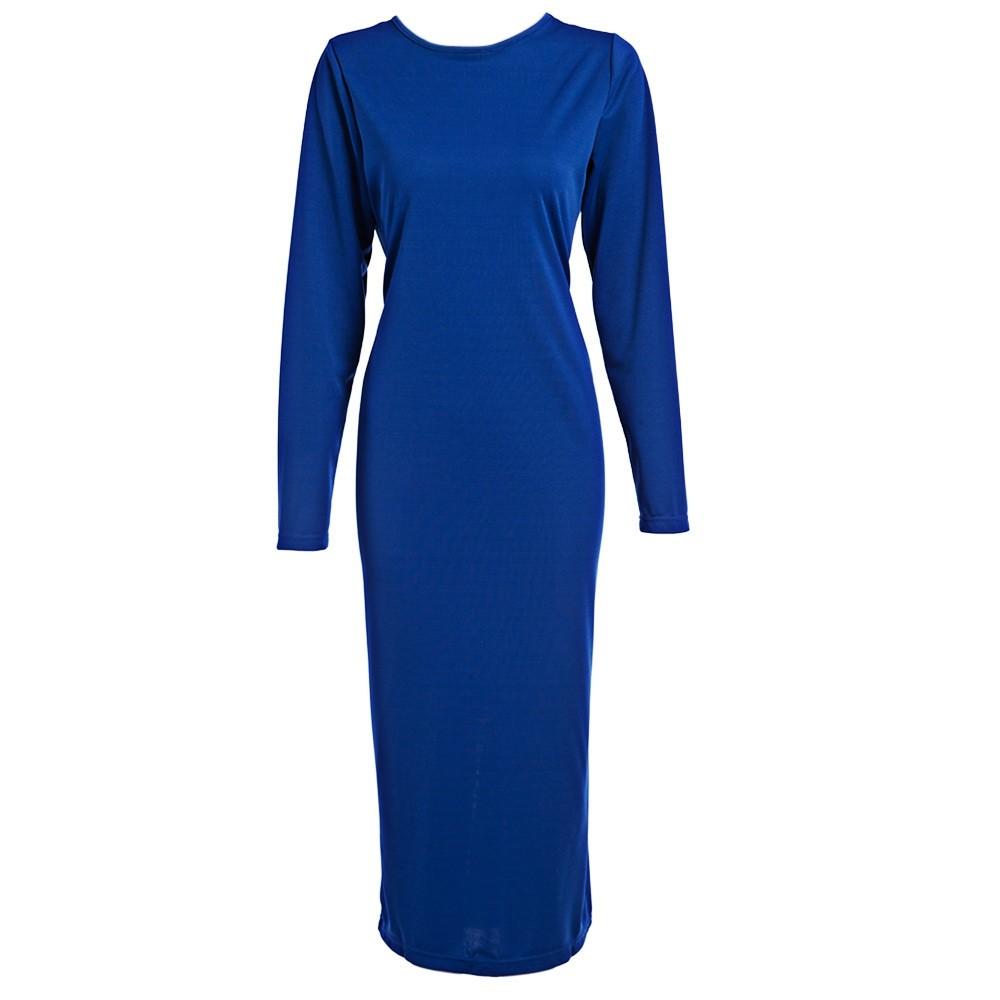 VESTLINDA Plus Size Robe Sexy Femme Midi Sheath Bodycon Dress Long Sleeve Elegant Dresses Women Back Zipper Pencil Tight Dress 14