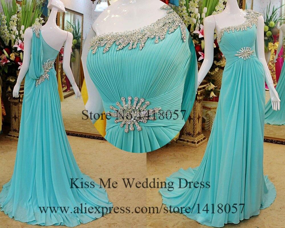 Reale turchese di cristallo prom dresses una spalla abiti da sera formale per le donne chiffon strass vestido de gala LP255