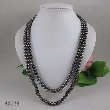 Unique Pearls jewellery Store,Black AA 8-9MM Freshwater Pearl Necklace,120cm Long Pearl Jewellery,Perfect Lady's Party Gift