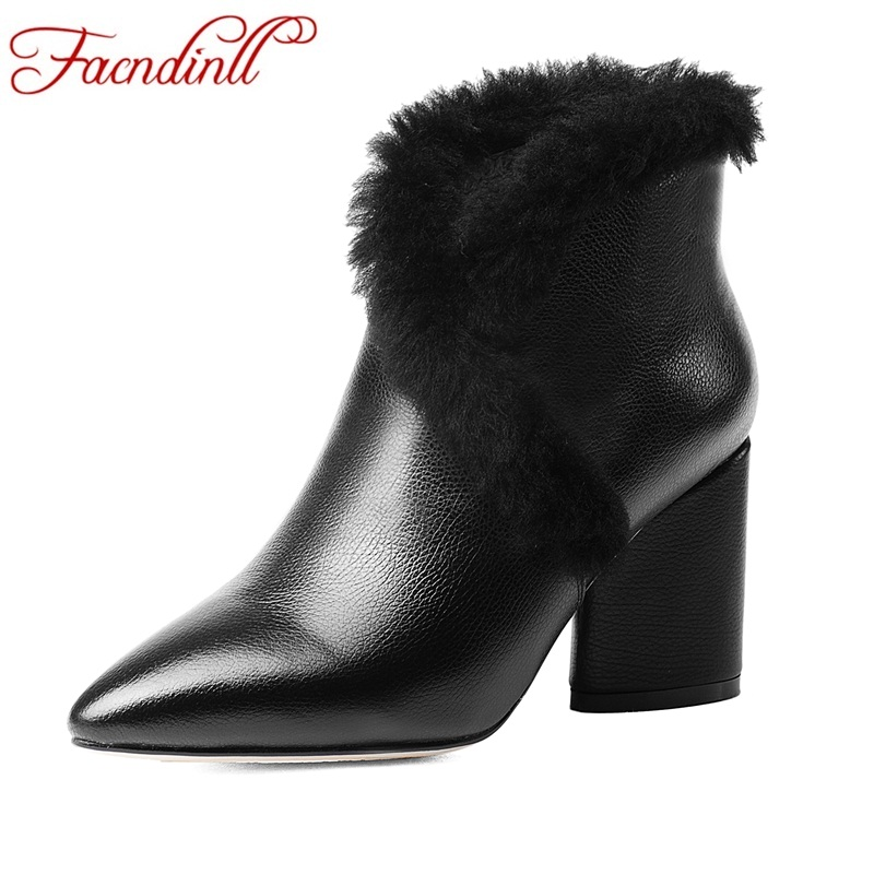 FACNDINLL 2018 women ankle boots elegant warm winter boots genuine leather ladies shoes woman high heels dress party shoes boots