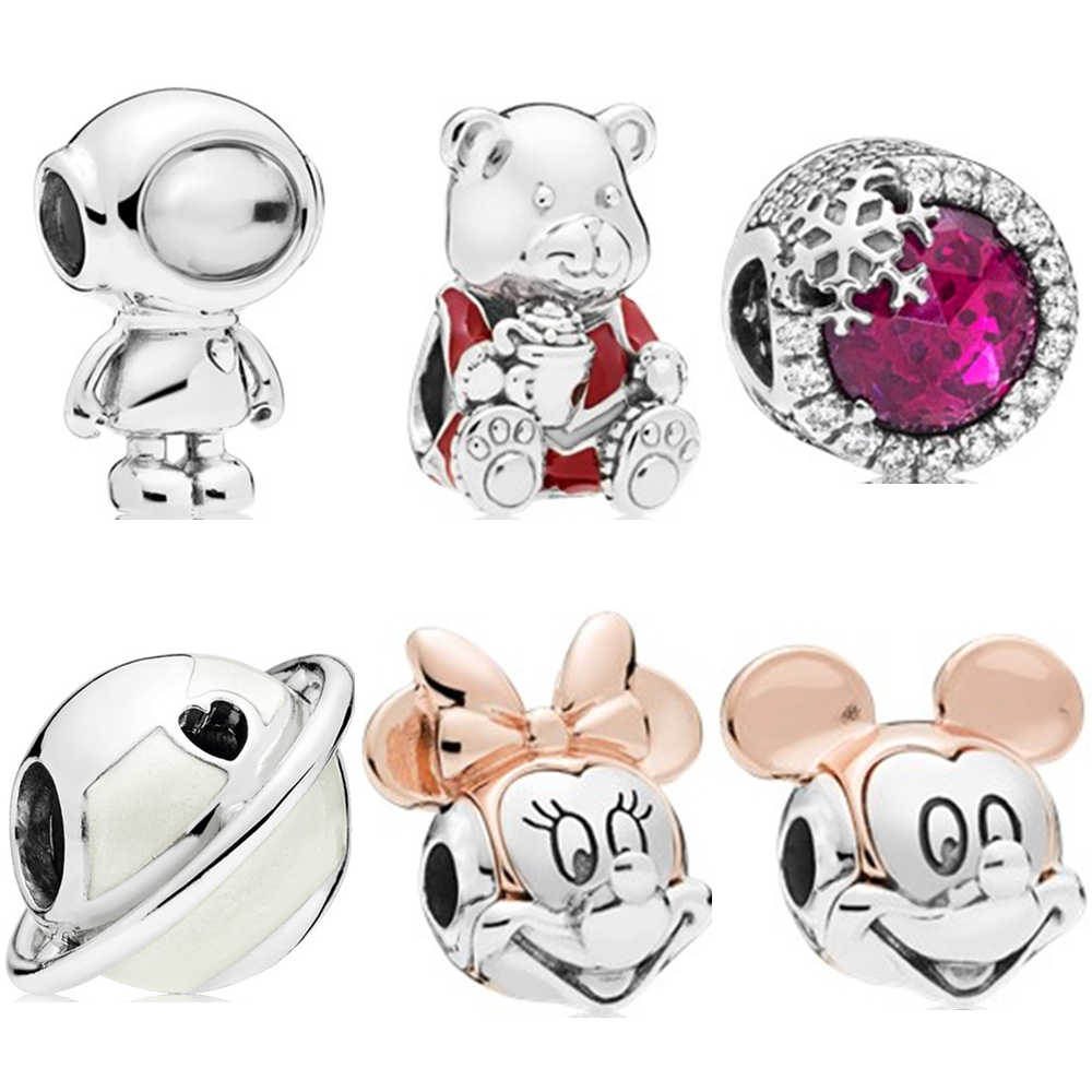 Sliver 925 Bead Charms Mickey Earth Snowflake Bear Robot Charm Fit Original Pandora Bracelet DIY Women Jewelry Making