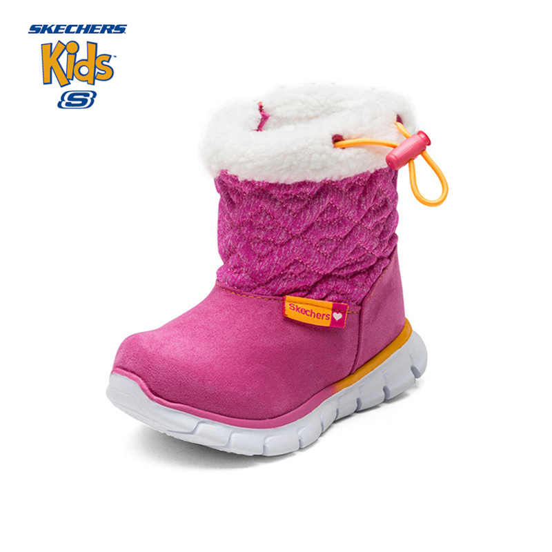 SKECHERS Kids Gilrl Winter Snow Boots Plush Mid Calf Zipper Leather Thicken Warm  Baby Toddler Boots Casual Sneaker Brand Shoe 45676e8e3