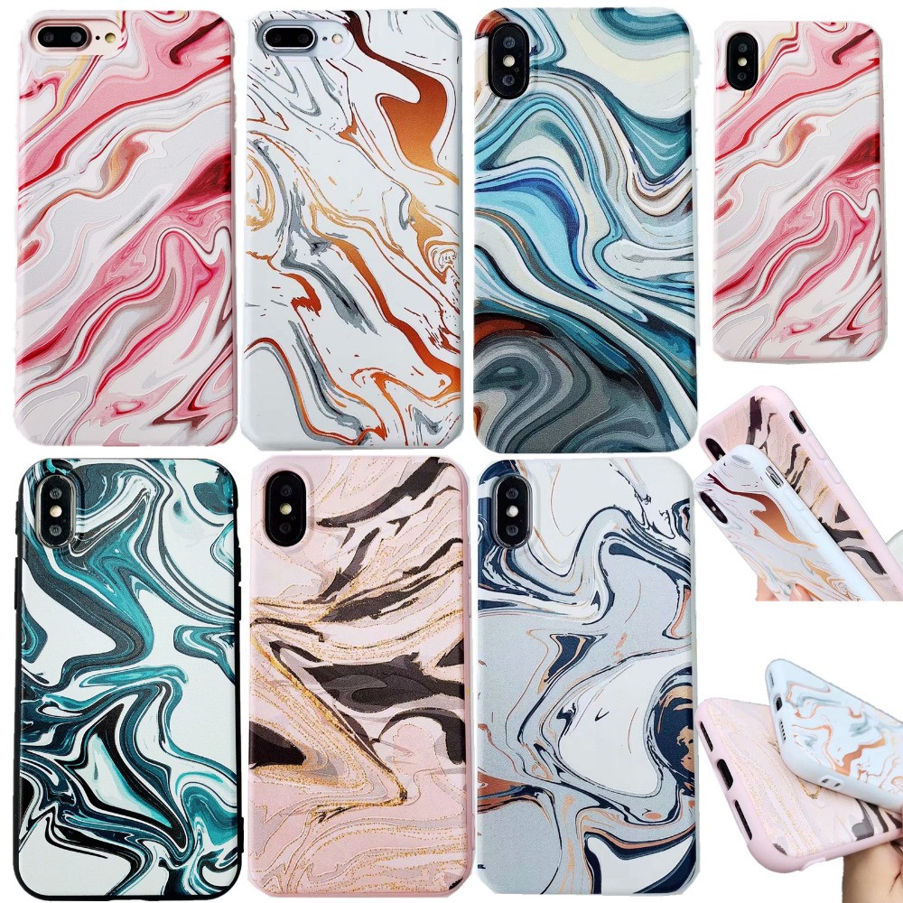 Luxury watercolor Marble Pattern Painting Silicone TPU Mobile Phone Case Cover Coque for iPhone 6s 6Plus 7 8 plus X XS MAX XR