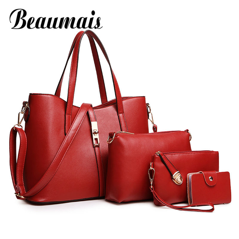 Beaumais Fashion High Quality PU Leather Women Tote+Shoulder/Messenger+Clutch Composite Bags 4 Pieces Sets Female Bag Big DF0097