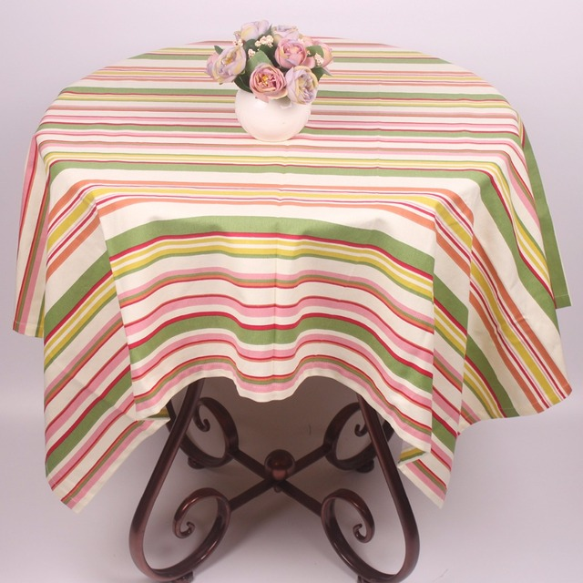 curcya rainbow stripe tablecloths for small tables 100 cotton table cloth cover 110x110cm square - Square Christmas Tablecloth