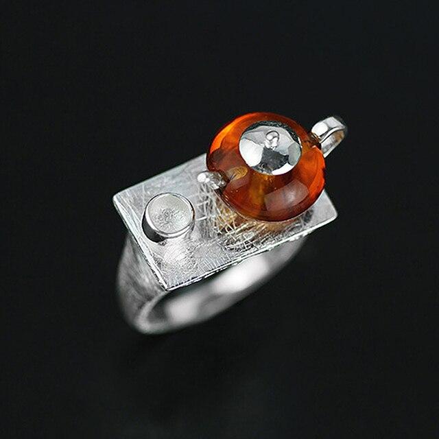 Teapot Amber Handmade Ring4