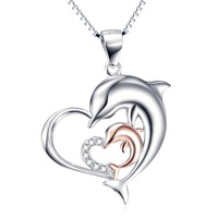 GNX10051 100 Real 925 Sterling Silver Necklaces Mother Child Dolphin Love Heart Crystal Necklace Luxury Sexy