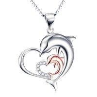 GNX10051 100% Reale Dell'argento Sterlina 925 Collana Mother & Child Dolphin Amore Cuore Ciondoli Collane Gioielli Di Moda Per Le Donne