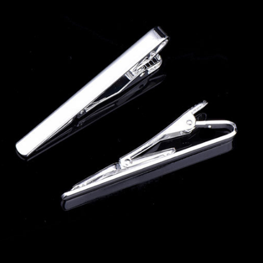 1 pcs Classic Zinc Alloy Square Style Tie Clip For Men Metal Silver Gold Tone Simple Bar Clasp Practical Necktie Clasp in Tie Clips Cufflinks from Jewelry Accessories