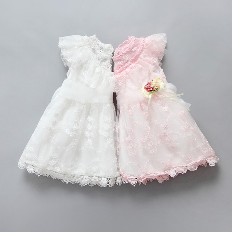 Baby Girl Flower Dress Kid Wedding Party Pageant Ruffle Lace Tulle Tutu Dresses Pink White lilac tulle open back flower girl dresses with white lace and bow silver sequins kid tutu dress baby birthday party prom gown