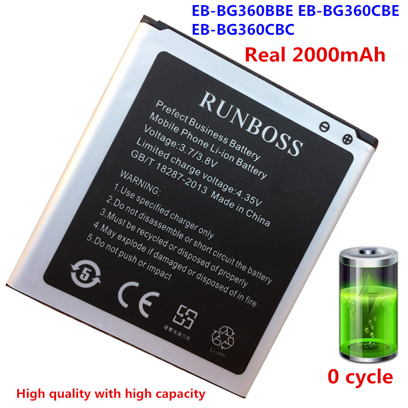 Real 2000mAh High Quality Mobile Phone <font><b>Battery</b></font> EB-BG360CBC For <font><b>Samsung</b></font> J2 SM-G360 G3606 G3608 G3609 G360BT <font><b>G361</b></font> J200F/DS image