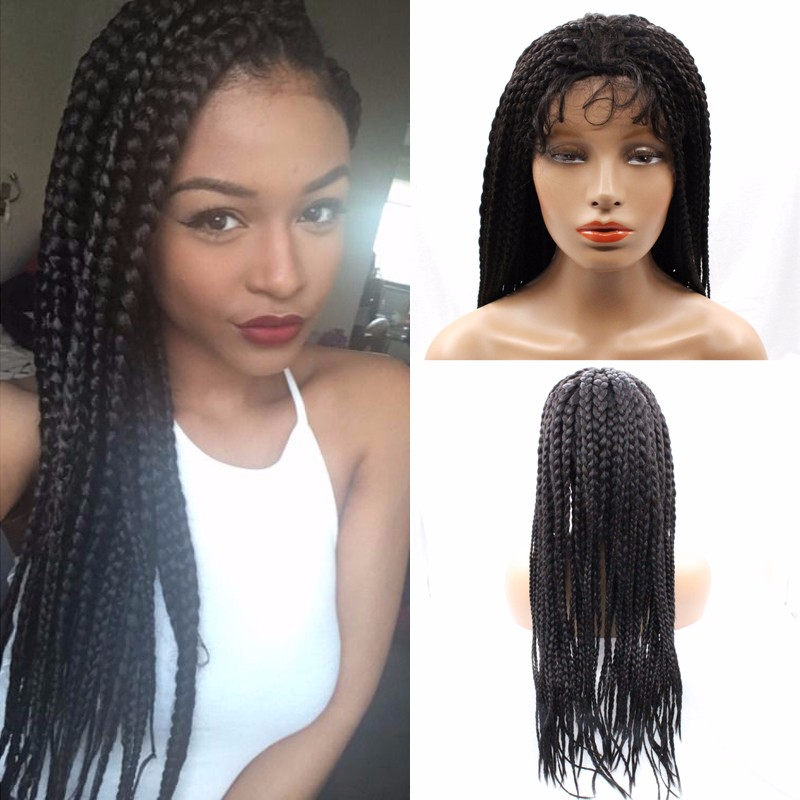 Hot Sale Glueless African American Wigs Box Braided Hair Synthetic Hair Wigs Cheap For Black Woman Free Shipping with Baby Hair цена