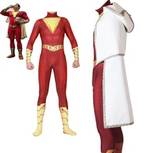 Adult kids DC Comics movie Golden Shazam superhero cosplay bodysuit suit jumpsuit costume Halloween Costume for men JQ-1356