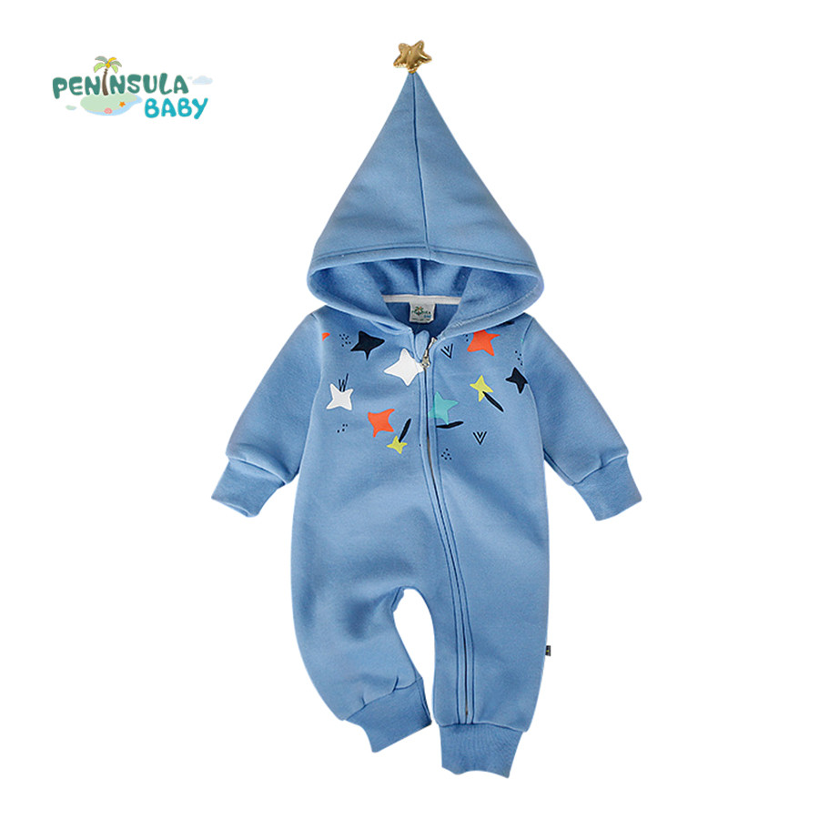 Baby Rompers Winter Star Patter Long Sleeve Jumpsuits Infant Boys Girls Clothes Newborn Toddler Costume Children Autumn Clothing baby rompers 2016 spring autumn style overalls star printing cotton newborn baby boys girls clothes long sleeve hooded outfits