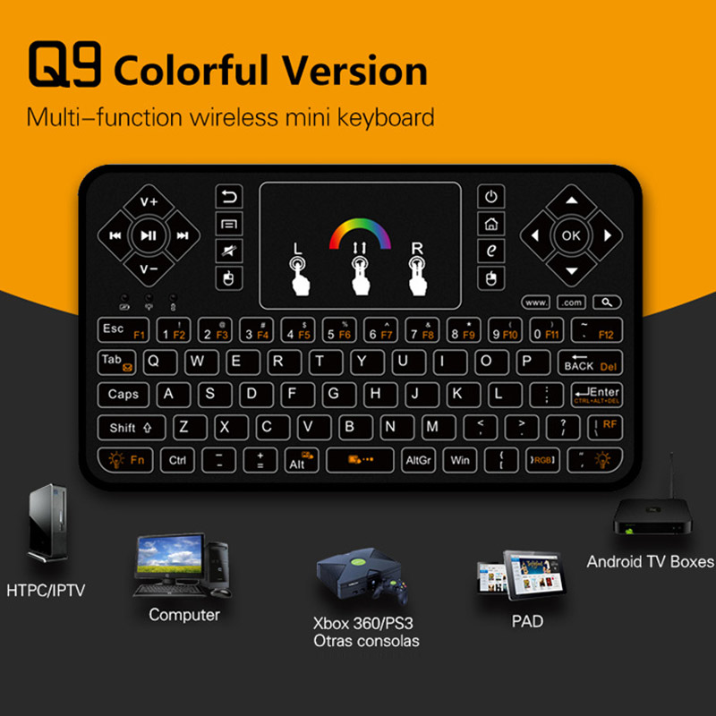 New Hot 2.4GHz Mini Wireless Keyboard Mouse With Touchpad Colorful Backlit for TV Box HTPC PC Raspberry Pi Q99 2 4g mini wireless keyboard mouse with touchpad for pc android tv htpc