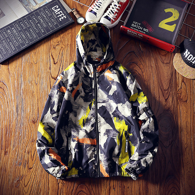 FeiTong Jacket Man 2018 Mens Autumn Winter Zip Camouflage Long Sleeve Pocket Sport Hoodies Coat Windbreaker Winter Jacket Men