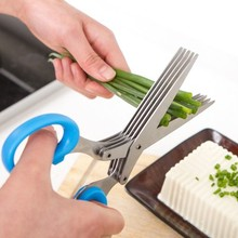 BF040 Stainless steel kitchen scissors multifunctional household five layer of edible seaweed green onion cut paper scissors wlxy wl 9016z multifunctional stainless steel scissors green black silver