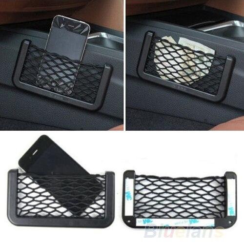 Unusual Universal Car Seat Side Back Storage Net Bag Phone Holder Pocket Organizer Black Mesh