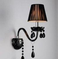Lámpara de pared Led moderna de cristal negro Arandela con pantalla de tela para pared de dormitorio envío gratis led wall light lamp wall light lamp led wall light -