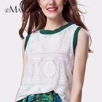 EMANCO Women Sexy Lace Blouse Sleeveless Feminine Tops Hollow Casual Slim White T Shirt Women Green