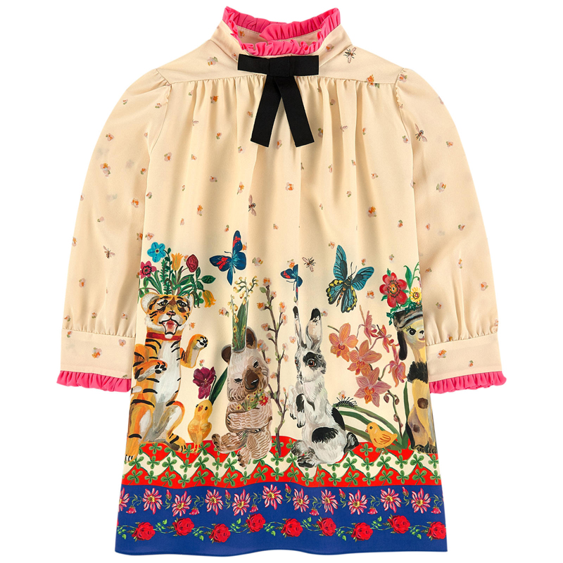 Winter Elegant Girls Dress With Bows Long Sleeve Cartoon Animal Printing Kids Princess Dresses For Girls Birthday Party Dress readit knitted dress 2017 autumn winter side split with faux pearl beading long sleeve elegant slim dress vestidos d2745