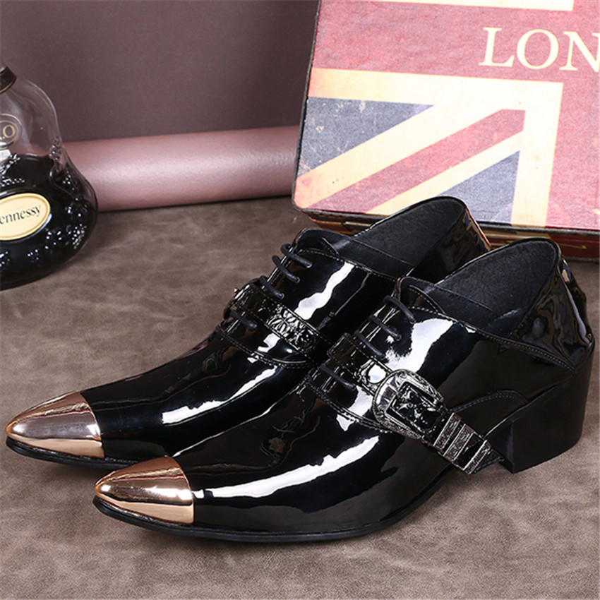 Fashion Patent Leather Men Dress Shoes Metal Pointed Toe Mens Oxfords Black Formal Business Wedding Shoes Creepers Tie Up Flats fashion top brand italian designer mens wedding shoes men polish patent leather luxury dress shoes man flats for business 2016