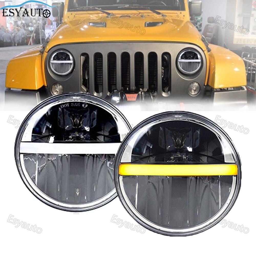 7 Inch LED Round Headlights 60W Hi/Lo Beam Half Halo Ring Angle Eye DRL Amber Turn Signal For Jeep Wrangler JK