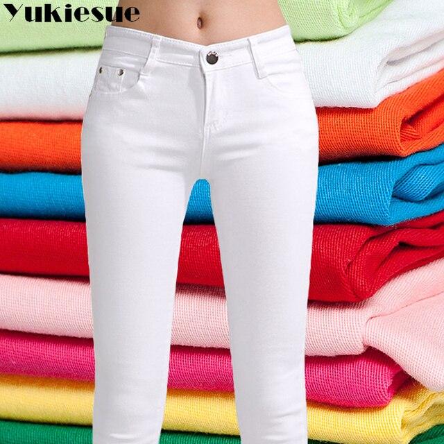 Cao jeans eo cho phụ nữ 2018 mùa đông mùa thu quần jean nữ quần văn phòng OL mỏng denim bút chì quần jeans nữ femme quần