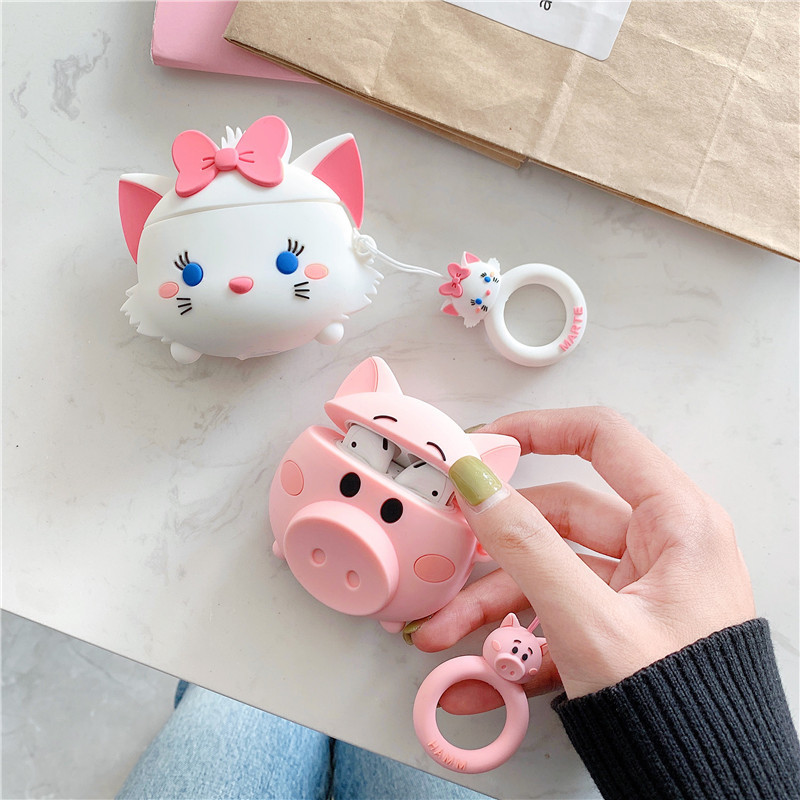 Image 5 - For AirPods Case Cute Cartoon Lovely Pig Cat Soft Silicone Wireless Bluetooth Earphone Cases For Apple Airpods 2 Cover Funda-in Earphone Accessories from Consumer Electronics