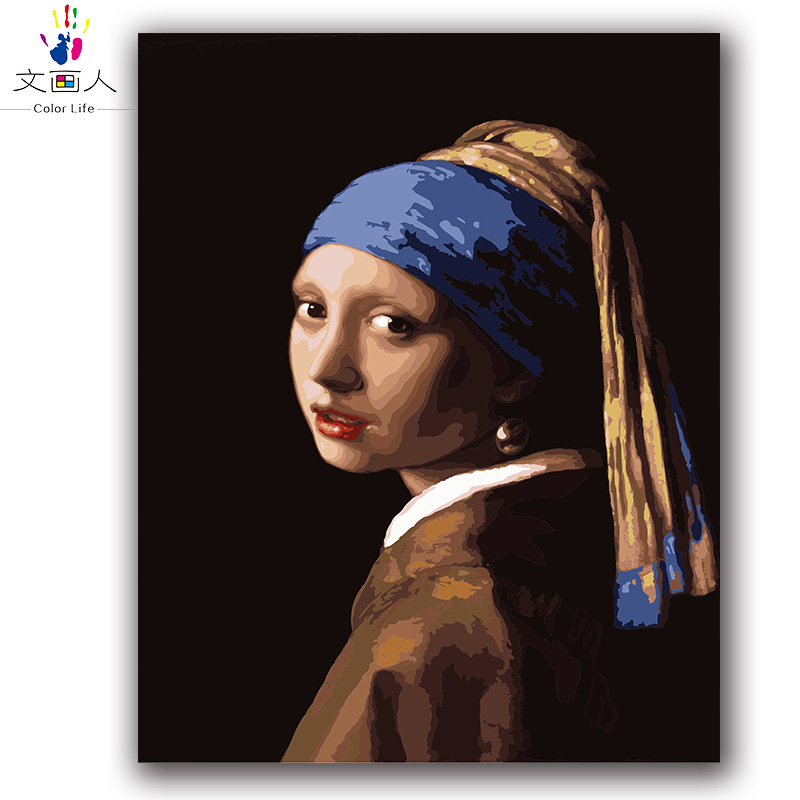 Colorings Paintings By Numbers  About Vermeer A Girl With A Pearl Earring  Pictures Paints By Numbers For Hotel Room Wall Decor