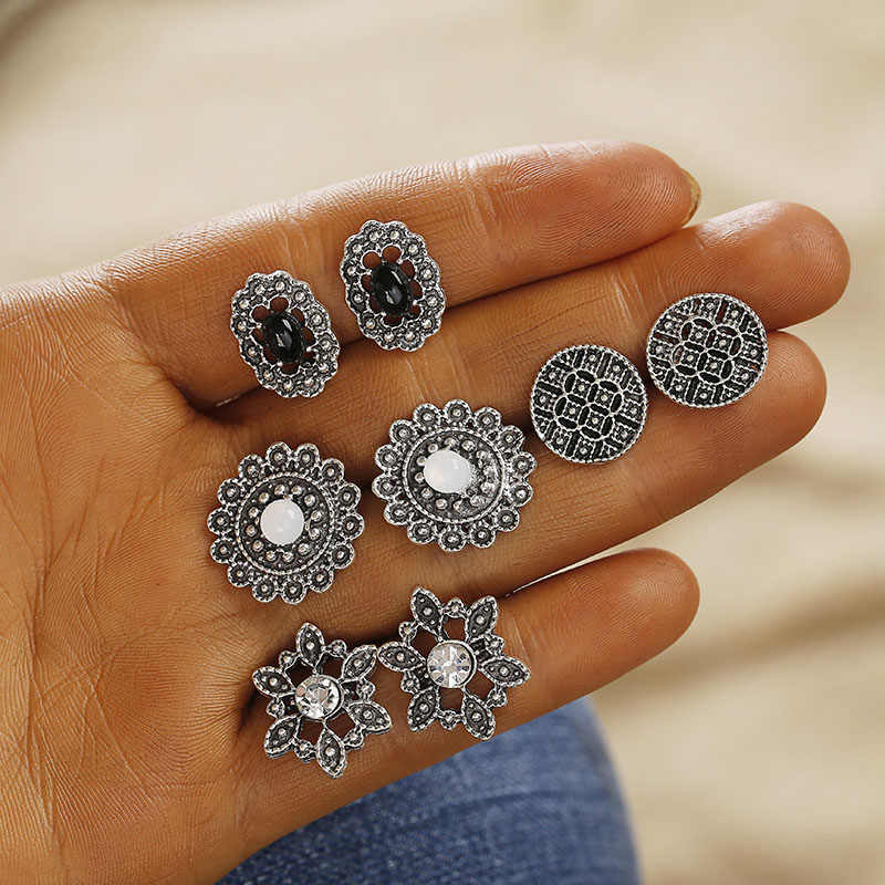 F25 Vintage Geometric Stud Earrings Set For Women Girls 2018 Fashion Bead Stone Flower Small Earrings Boucle d'oreille Femme